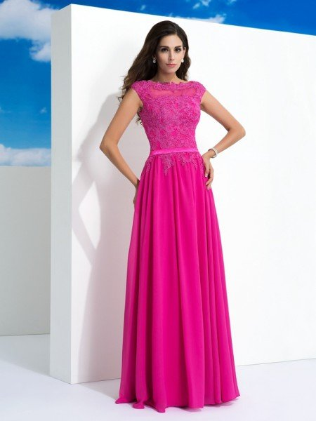 A-Line/Princess Sheer Neck Lace Sleeveless Long Chiffon Dresses