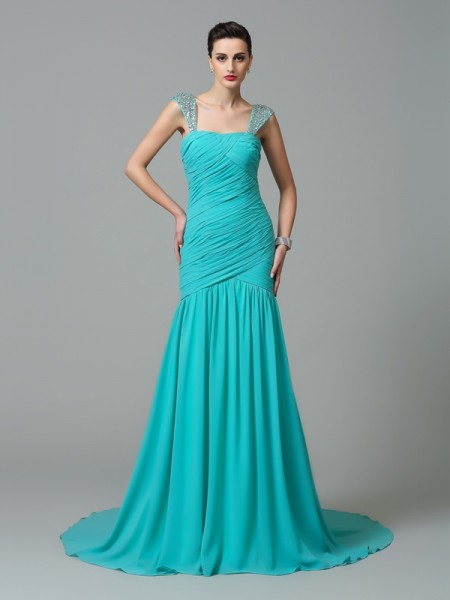 A-Line/Princess Straps Ruched Sleeveless Long Chiffon Dresses