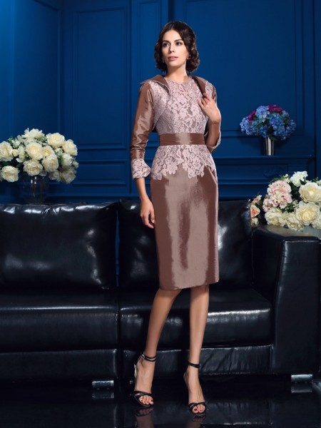 Sheath/Column Jewel Lace Short Sleeves Short Taffeta Mother of the Bride Dresses