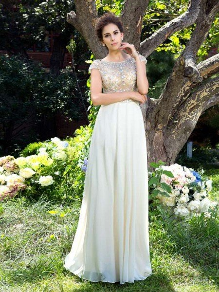 A-Line/Princess Sheer Neck Rhinestone Short Sleeves Long Chiffon Dresses
