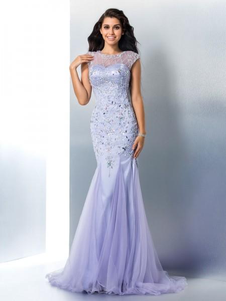 Trumpet/Mermaid Sheer Neck Beading Sleeveless Long Satin Dresses