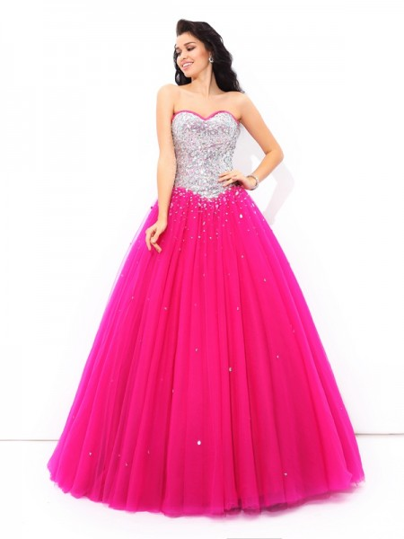 Ball Gown Beading Sweetheart Sleeveless Long Satin Quinceanera Dresses