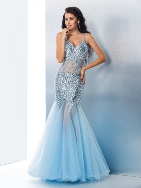 Trumpet/Mermaid Spaghetti Straps Sequin Sleeveless Long Tulle Dresses