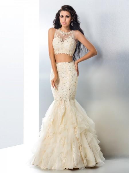 Trumpet/Mermaid Sheer Neck Beading Sleeveless Long Tulle Two Piece Dresses