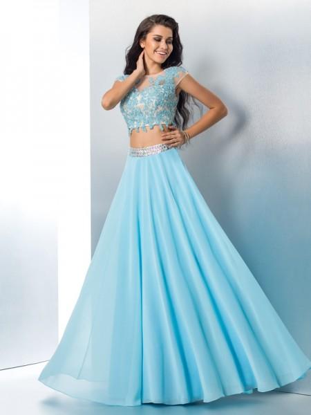 A-Line/Princess Sheer Neck Applique Short Sleeves Long Chiffon Two Piece Dresses