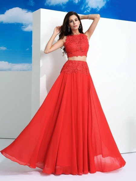 A-Line/Princess Scoop Lace Sleeveless Long Chiffon Two Piece Dresses