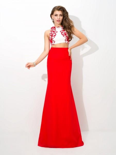 Sheath/Column High Neck Applique Sleeveless Long Chiffon Two Piece Dresses