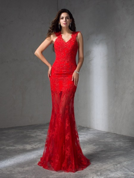 Trumpet/Mermaid V-neck Applique Sleeveless Long Satin Dresses