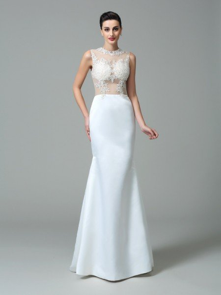 Sheath/Column Jewel Applique Sleeveless Long Satin Dresses