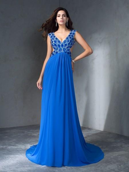 A-Line/Princess V-neck Sequin Sleeveless Long Chiffon Dresses