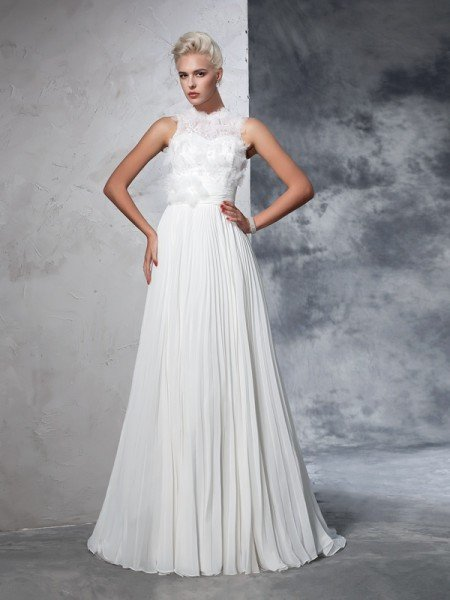 A-Line/Princess High Neck Pleats Sleeveless Long Chiffon Wedding Dresses