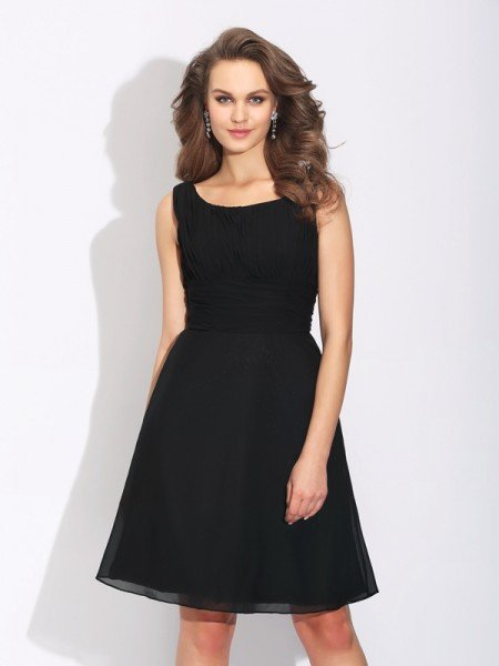 A-Line/Princess Scoop Bowknot Sleeveless Short Chiffon Dresses