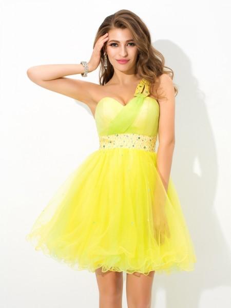 A-Line/Princess One-Shoulder Beading Sleeveless Short Net Cocktail Dresses