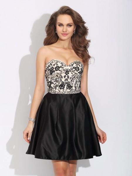 A-Line/Princess Sweetheart Bowknot Sleeveless Short Satin Dresses