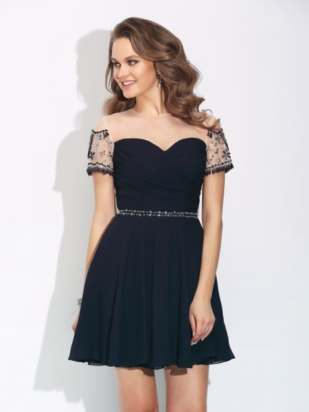 A-Line/Princess Jewel Beading Short Sleeves Short Chiffon Dresses