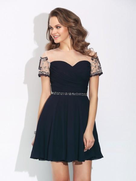 A-Line/Princess Jewel Beading Short Sleeves Short Chiffon Dresses