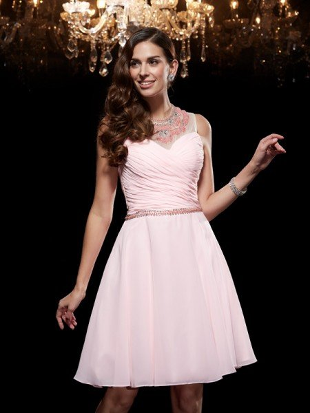 A-Line/Princess Scoop Beading Sleeveless Short Chiffon Dresses
