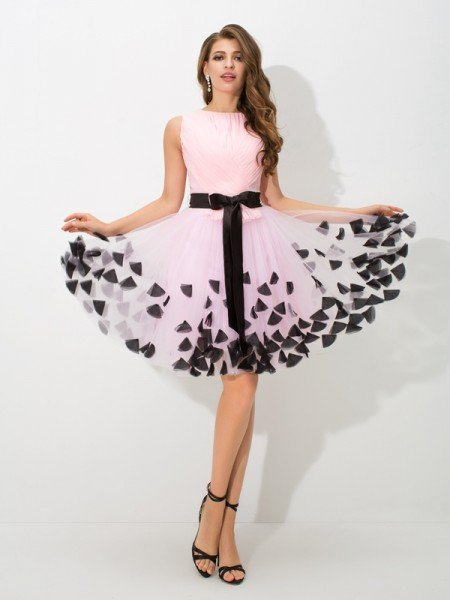 A-Line/Princess High Neck Bowknot Sleeveless Short Net Cocktail Dresses
