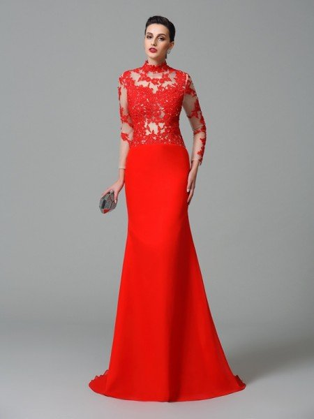 Trumpet/Mermaid High Neck Applique Long Sleeves Long Chiffon Dresses