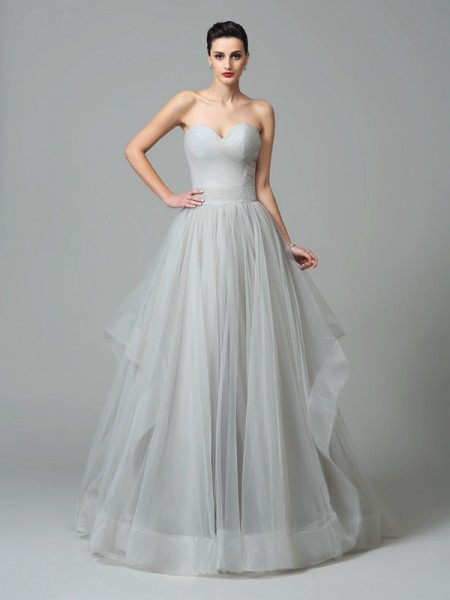 A-Line/Princess Sweetheart Layers Sleeveless Long Net Dresses