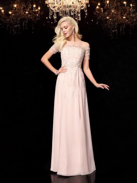 A-Line/Princess Bateau Beading Short Sleeves Long Chiffon Dresses