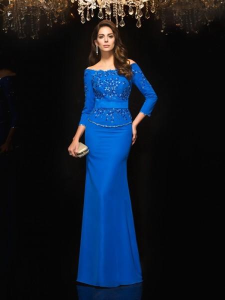 Sheath/Column Off-the-Shoulder Beading 3/4 Sleeves Long Chiffon Dresses