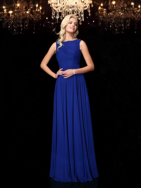 A-Line/Princess Bateau Rhinestone Sleeveless Long Chiffon Dresses