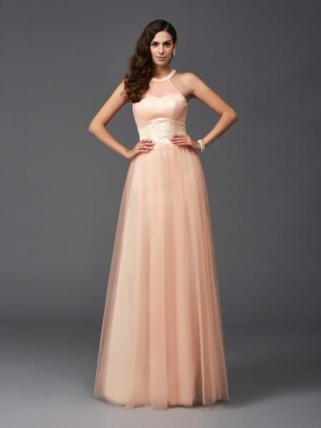 A-Line/Princess Halter Beading Sleeveless Long Net Dresses