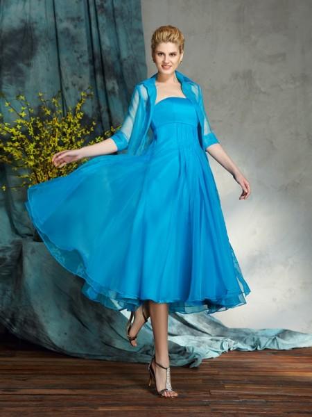 A-Line/Princess Strapless Applique Sleeveless Short Organza Mother of the Bride Dresses