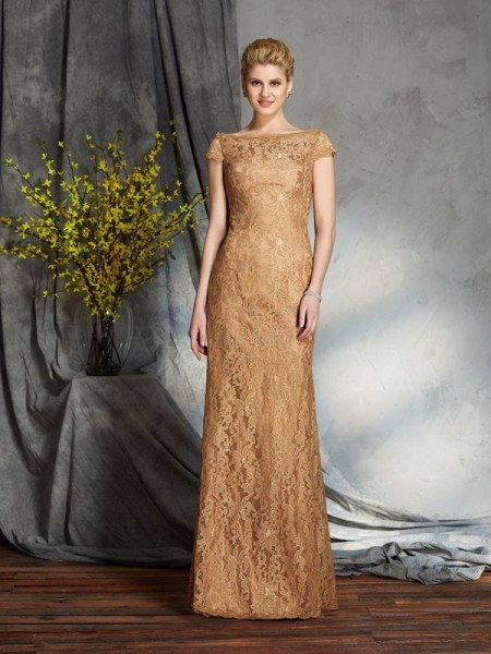 Sheath/Column Bateau Lace Short Sleeves Long Lace Mother of the Bride Dresses