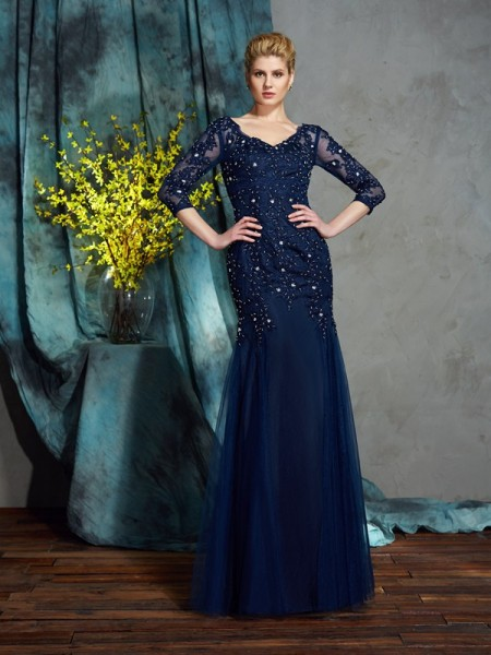 Sheath/Column V-neck Applique 3/4 Sleeves Long Net Mother of the Bride Dresses
