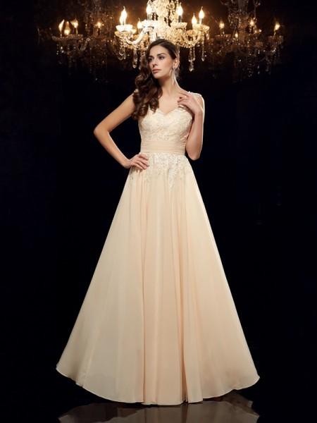 A-Line/Princess Straps Applique Sleeveless Long Chiffon Mother of the Bride Dresses
