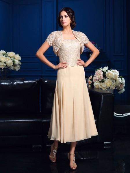 8ae5ad202285 A-Line Princess Square Applique Sleeveless Short Chiffon Mother of the Bride  Dresses