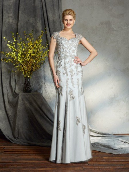 Sheath/Column Sweetheart Applique Sleeveless Long Satin Mother of the Bride Dresses
