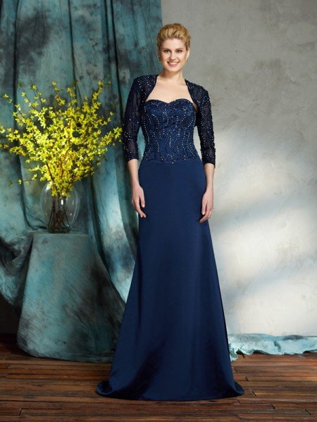 Sheath/Column Sweetheart Sequin Sleeveless Long Satin Mother of the Bride Dresses