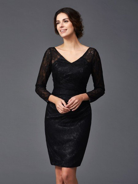 Sheath/Column V-neck Lace Long Sleeves Short Elastic Woven Satin Mother of the Bride Dresses