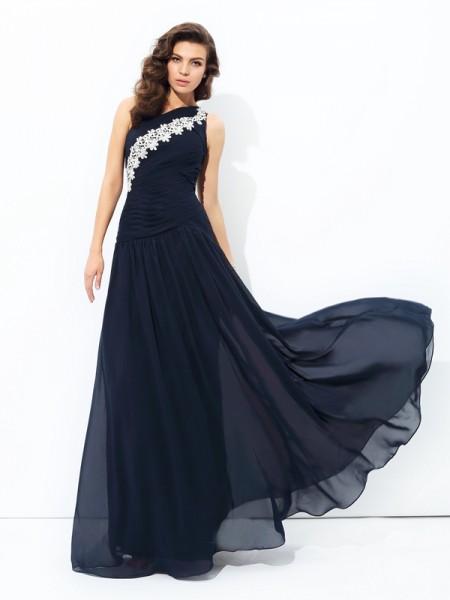 A-line/Princess One-Shoulder Applique Sleeveless Long Chiffon Dresses