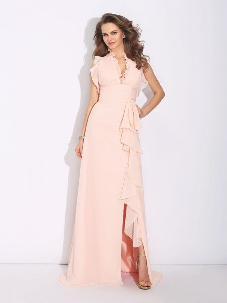 A-Line/Princess High Neck Ruffles Sleeveless Long Chiffon Dresses