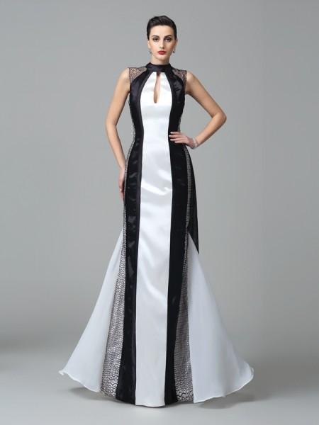 Sheath/Column High Neck Pleats Sleeveless Long Chiffon Dresses