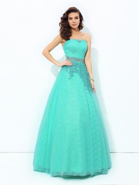 A-line/Princess Strapless Beading Sleeveless Long Elastic Woven Satin Dresses