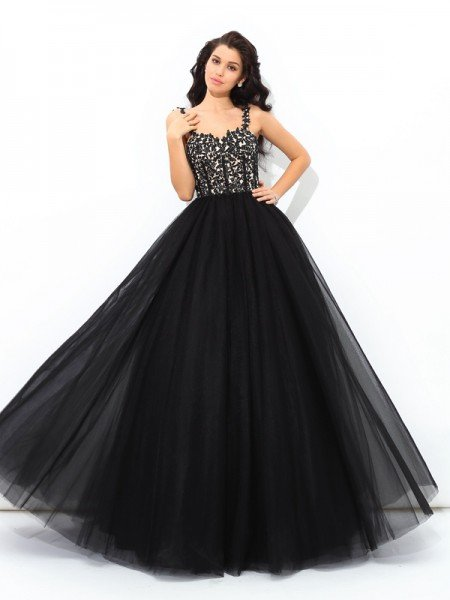 Ball Gown Straps Applique Sleeveless Long Net Quinceanera Dresses