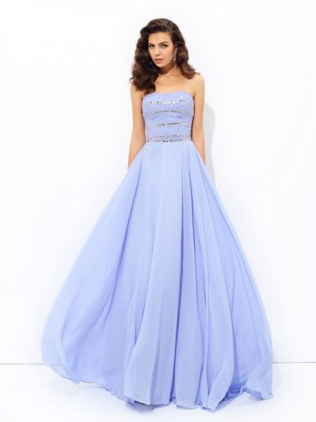 A-line/Princess Strapless Beading Sleeveless Long Chiffon Dresses