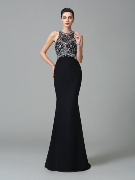 Trumpet/Mermaid Jewel Rhinestone Sleeveless Long Chiffon Dresses