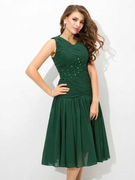 A-Line/Princess Scoop Pleats Sleeveless Short Chiffon Dresses