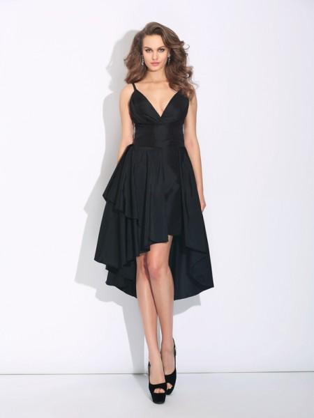 A-Line/Princess Spaghetti Straps Ruffles Sleeveless High Low Taffeta Dresses