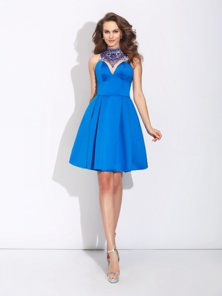 A-Line/Princess High Neck Beading Sleeveless Short Satin Dresses