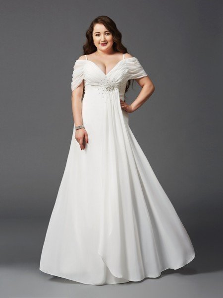 b0d24d53f32 A-Line Princess Off-the-Shoulder Ruched Short Sleeves Long Chiffon Plus
