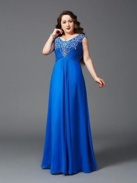 A-Line/Princess Straps Beading Short Sleeves Long Chiffon Plus Size Dresses