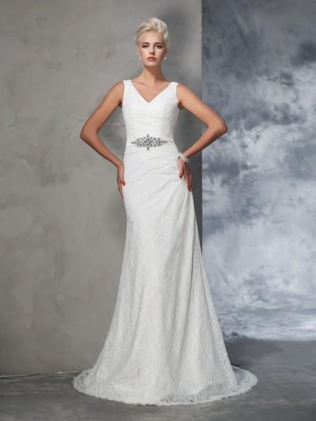 Trumpet/Mermaid V-neck Lace Sleeveless Long Lace Wedding Dresses