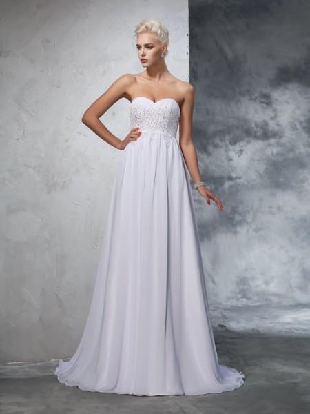 A-Line/Princess Sweetheart Beading Sleeveless Long Chiffon Wedding Dresses